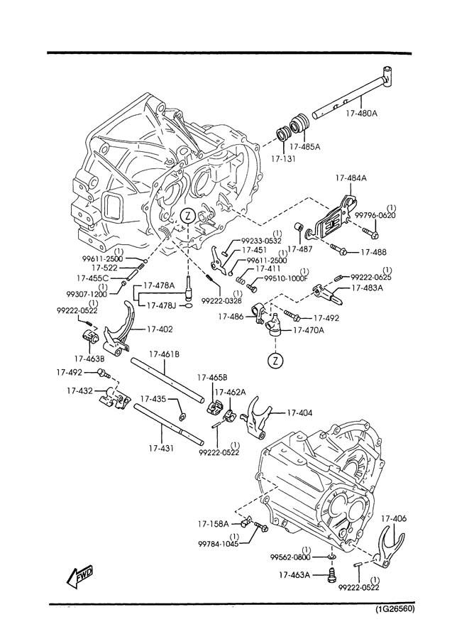 1999 Mazda 626 Manual Transmission Change Control System