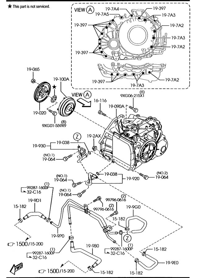 service manual  removing torque convertor 2007 mazda mazda6