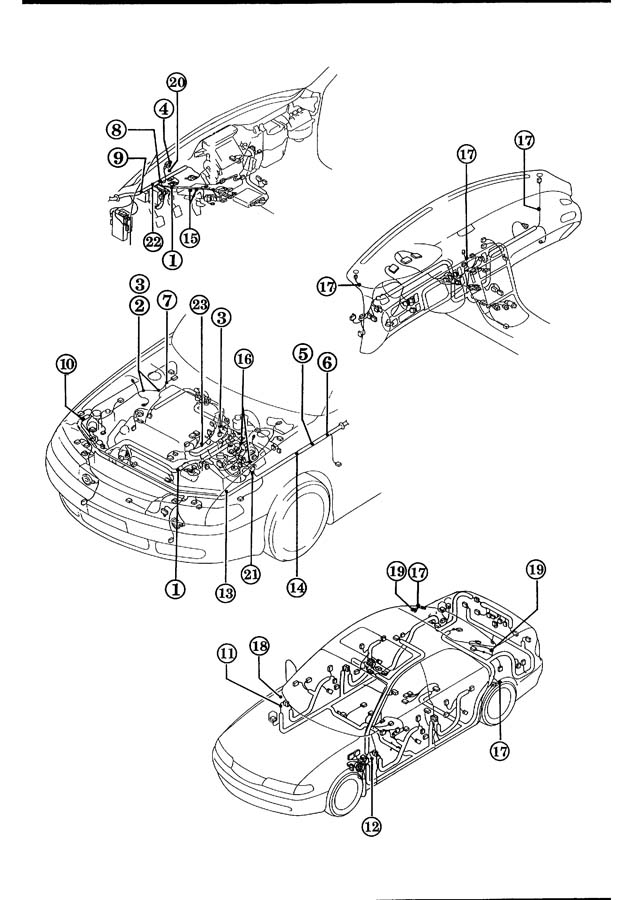 1994 mazda 626 wiring harness clamps