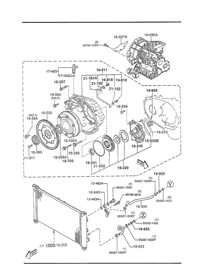mazda automatic transmission torque converter  oil pump